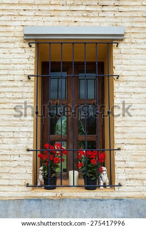 Italian style window with flower on the wall - stock photo