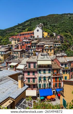 Italian town of Vernazza. Cityscape. - stock photo