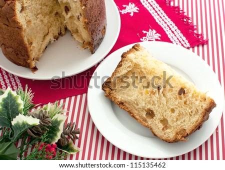 Italian traditional christmas cake panettone - stock photo