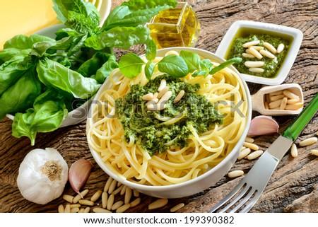 italian traditional linguine pasta by genovese pesto sauce - stock photo
