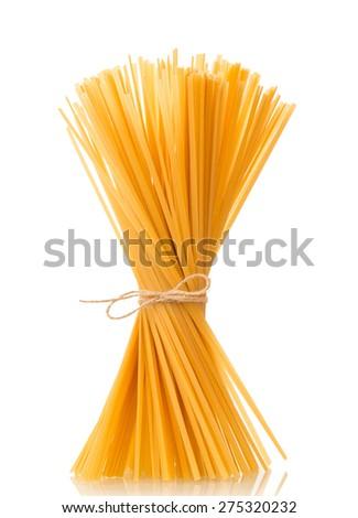 Italian uncooked pasta isolated on white background - stock photo