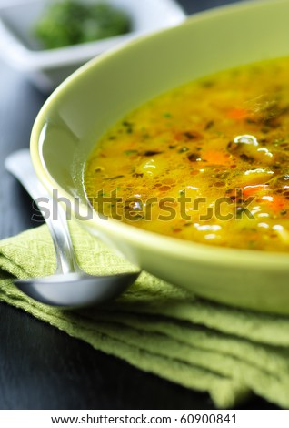 Italian vegetable soup,minestrone,shallow focus - stock photo