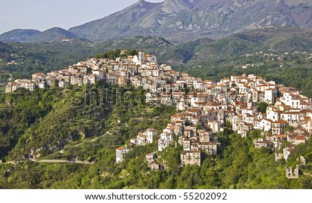 Italian village among south italy mountains