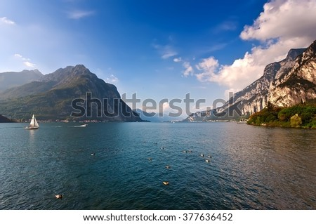 Italian village in Lecco Lake Lecco, Lombardy, Italy