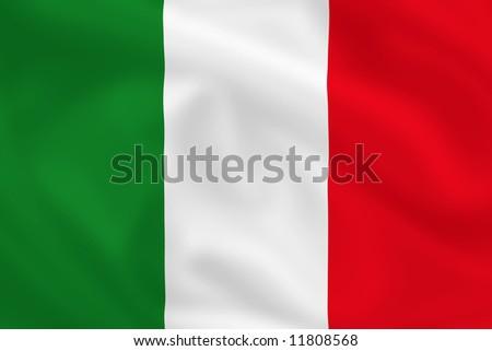 Italian waving flag - stock photo