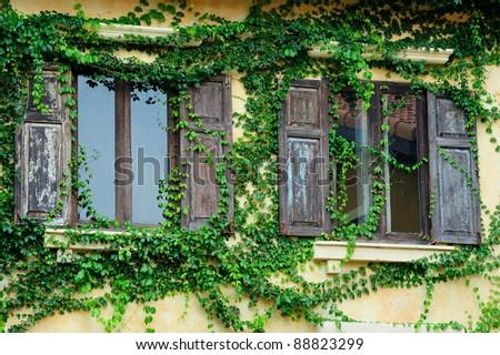 italian window - stock photo