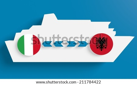 italy albania ferry boat route info in icons - stock photo