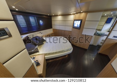 Italy, Alfamarine 72 luxury yacht, master bedroom