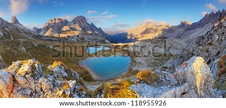 Italy Alps Dolomites  - Tre Cime - Lago dei Piani - stock photo