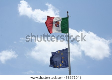 Italy and the European Union flags - stock photo