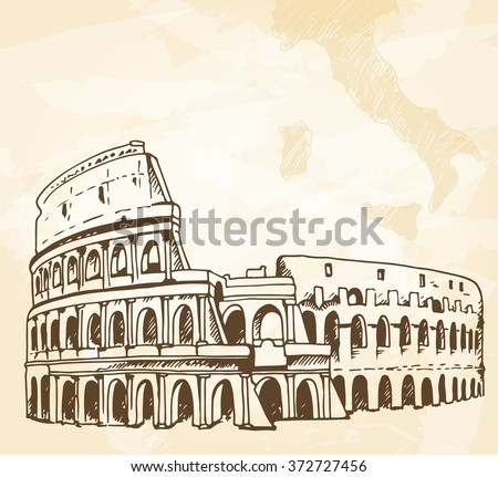 Italy background, Coliseum (Colosseum) drawing on a grunge vintage beige background with map of Italy and space for text - stock photo
