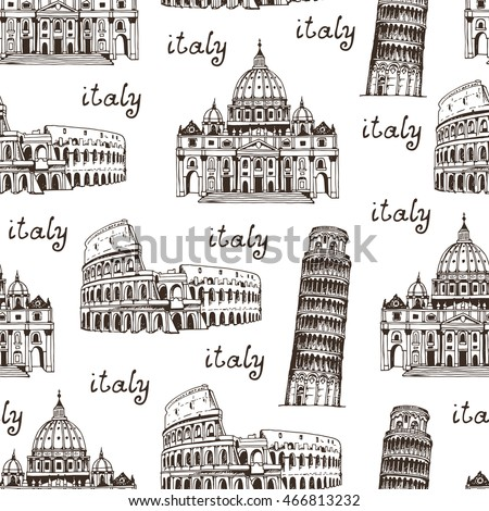 Italy background, hand drawn seamless pattern with famous places of Rome, Vatican, Italy