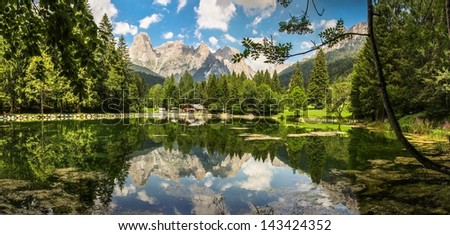 Italy beauty, Dolomites, lake Welsberg under Pale di San Martino