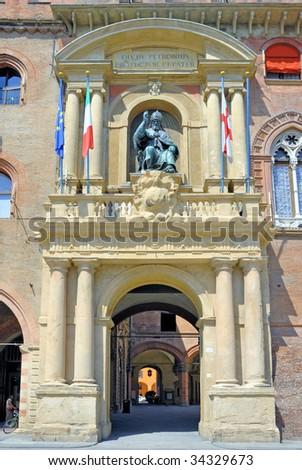 Italy, Bologna city council building main door. - stock photo