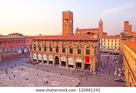 Italy, Bologna main square and King Enzo palace - stock photo