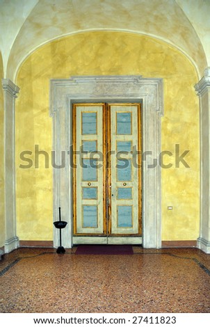 Italy Bologna medieval house interior - stock photo