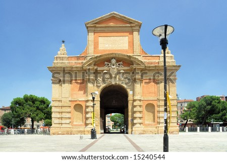 Italy Bologna old medieval city door dâ??Azeglio - stock photo