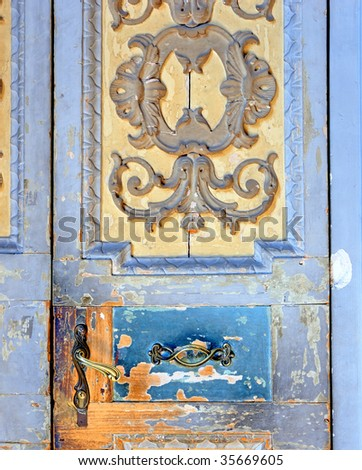 Italy, Bologna old medieval door detail - stock photo