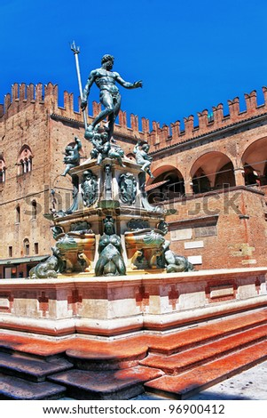 Italy bologna the fountain of Neptune in old town - stock photo