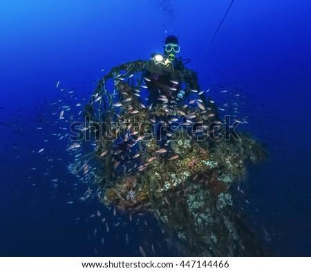 Italy, Calabria, Tyrrhenian sea, U.W. photo, wreck diving, sunken ship - FILM SCAN - stock photo