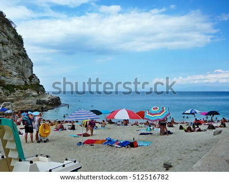 Italy,Calabria-view of the beach in Tropea