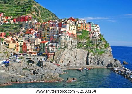 Italy. Cinque Terre region. Manarola village - stock photo