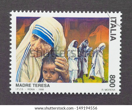 ITALY - CIRCA 1998: a postage stamp printed in Italy showing an image of Nobel Peace Prize winner Mother Teresa, circa 1998. - stock photo