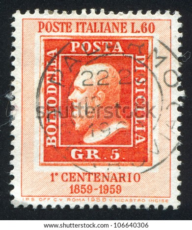ITALY - CIRCA 1959: A stamp printed by Italy, shows Stamp of Sicily, circa 1959
