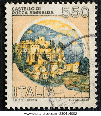 ITALY - CIRCA 1980: A stamp printed in Italy dedicated to Castle Fortress Sinibalda, E. Vangelli INC., circa 1980