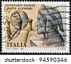ITALY - CIRCA 1990: A stamp printed in Italy dedicated to centenary of Dante Alighieri Society, circa 1990 - stock photo