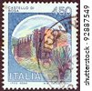 "ITALY - CIRCA 1980: A stamp printed in Italy from the ""Castles"" issue shows Bosa castle, circa 1980. - stock photo"