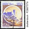 "ITALY - CIRCA 1980: A stamp printed in Italy from the ""Castles"" issue shows Miramare castle, Trieste, circa 1980. - stock photo"