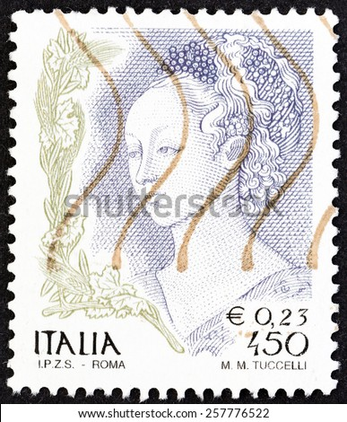 """ITALY - CIRCA 1998: A stamp printed in Italy from the """"Women in Art"""" issue shows  Detail of Herods Banquet and the Dance of Salome fresco by Filippo Lippi in Prato Cathedral, circa 1998. - stock photo"""