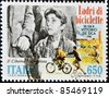 ITALY - CIRCA 1988: A stamp printed in Italy shows Bicycle Thief image, film by Vittorio de Sicca, circa 1988 - stock photo