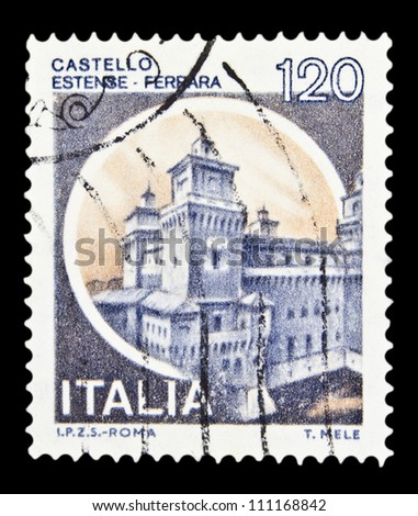 """ITALY - CIRCA 1980: A stamp printed in Italy, shows castle Estense, Ferrara with the same inscription, from the series """"Italian castles"""", circa 1980 - stock photo"""