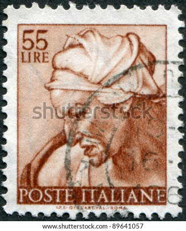 ITALY - CIRCA 1961: A stamp printed in Italy, shows Designs from Sistine Chapel by Michelangelo, Cumaean Sybil, circa 1961