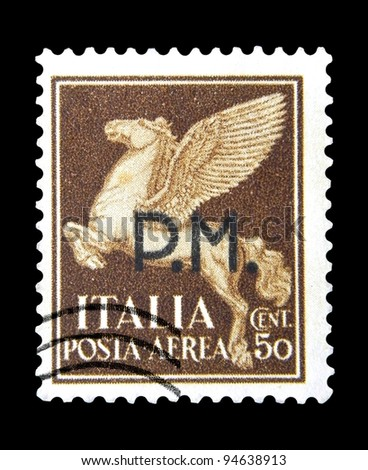 """ITALY - CIRCA 1930: A stamp printed in Italy shows image of Pegasus - mythological creatures in Greek mythology - the horse with wings, with inscription """"P.M."""", from the series """"Airmail"""", circa 1930 - stock photo"""