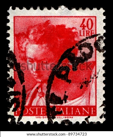 ITALY-CIRCA 1961:A stamp printed in Italy shows image of The Prophet Daniel is one of the seven Old Testament prophet's painted by the Italian High Renaissance master Michelangelo, circa 1961. - stock photo