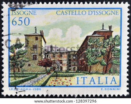ITALY - CIRCA 1986: A stamp printed in Italy shows Issogne Castle, circa 1986