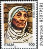 ITALY - CIRCA 1998: A stamp printed in Italy shows Mother Teresa, circa 1998 - stock photo