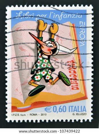 ITALY - CIRCA 2010: A stamp printed in Italy shows Pinocchio, circa 2010 - stock photo