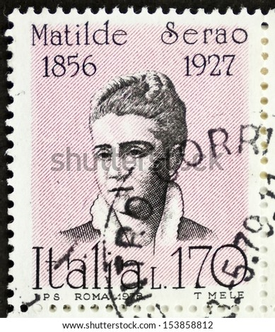 ITALY - CIRCA 1978: a stamp printed in Italy shows  portrait of Matilde Serao (1856 - 1927), Greek-born Italian novelist and journalist. Italy, circa 1978