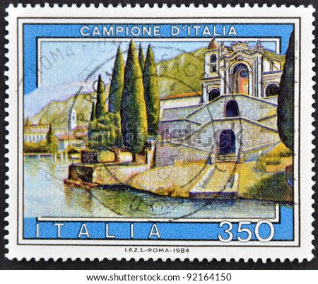 ITALY - CIRCA 1984: A stamp printed in Italy shows sample of Italian, circa 1984