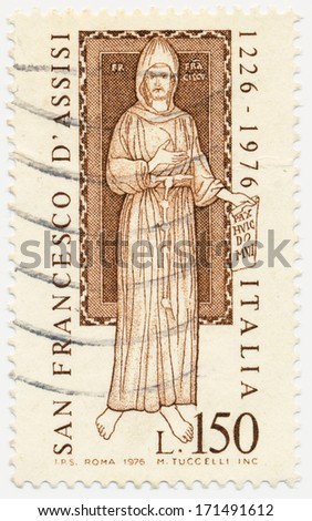 ITALY - CIRCA 1976: A stamp printed in Italy shows St. Francis, 13th Century Fresco, circa 1976