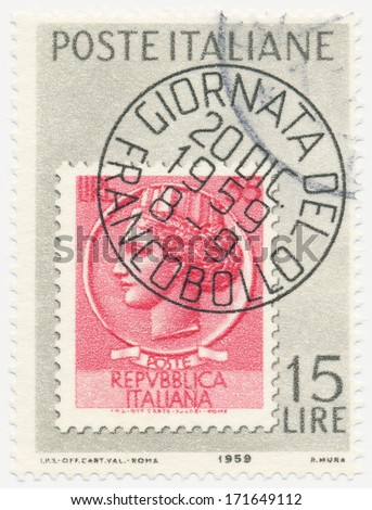 ITALY - CIRCA 1953: A stamp printed in Italy shows Stamp of 1953 with Facsimile Cancellation, circa 1953