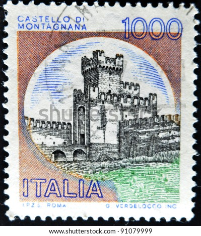 ITALY - CIRCA 1980: A stamp printed in Italy, shows the Castle of San Zeno, Italian series of castles , circa 1980 - stock photo