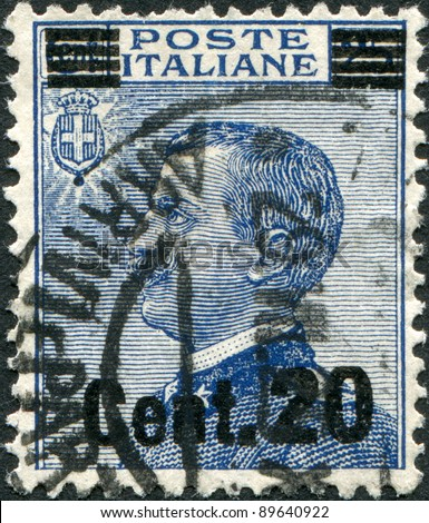 ITALY - CIRCA 1908: A stamp printed in Italy, shows the King of Italy Victor Emmanuel III (overprint, the new price in 1925), circa 1908