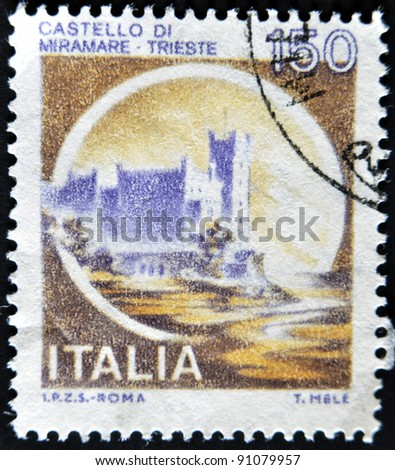 ITALY - CIRCA 1980: A stamp printed in Italy, shows the Miramare Castle, Trieste, Italian series of castles, circa 1980 - stock photo
