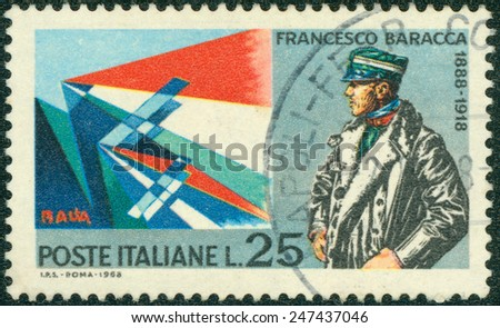ITALY - CIRCA 1968: a stamp printed in the Italy show Major Francesco Baracca, World War I Aviator, Planes by Giacomo Balla, circa 1968 - stock photo
