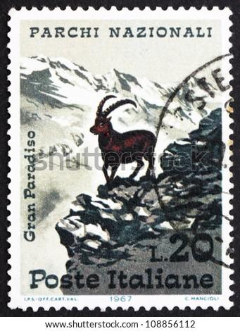 ITALY - CIRCA 1967: A stamp printed in the Italy shows Alpine Ibex, Capra Ibex, Grand Paradiso National Park, Italy, circa 1967 - stock photo